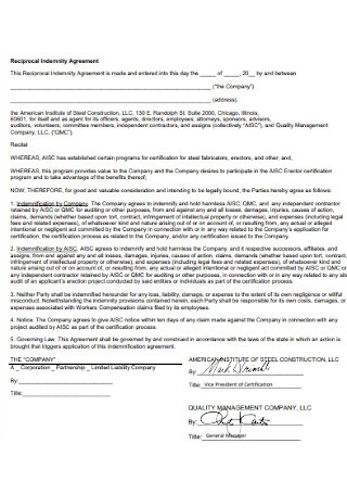 Reciprocal Indemnity Agreement