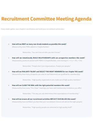 Recruitment Committee Meeting Agenda
