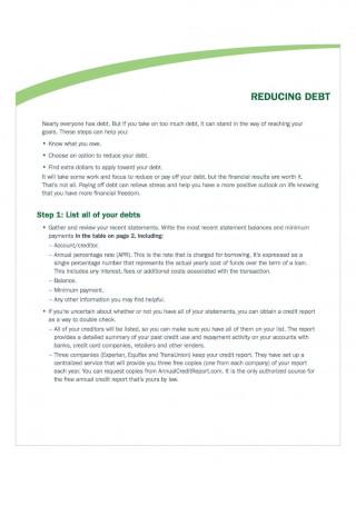 Reducing Debt Sheet