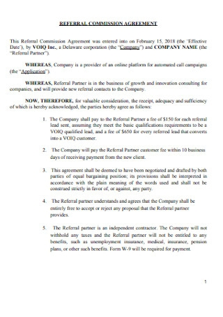 Referral Commission Agreement