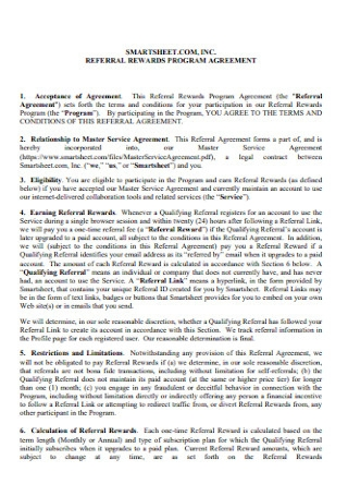 Referral Reward Program Agreement