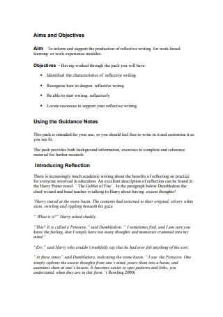 Reflective Writing Guidance Notes for Students