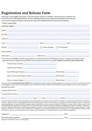 Registration and Release Form