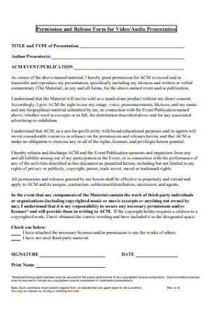 Release Form for Video
