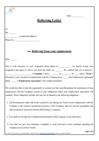 Relieving Letter Template