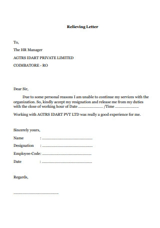 Relieving Letterhead Template