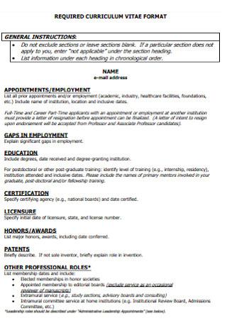 Reqired Curriculum Vitae Format