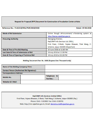 Request for Proposal Document for Construction