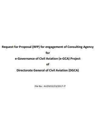 Request for Proposal Engagement of Consulting