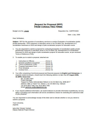 Request for Proposal From Consulting Firm