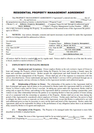 Residential Property Management Agreement