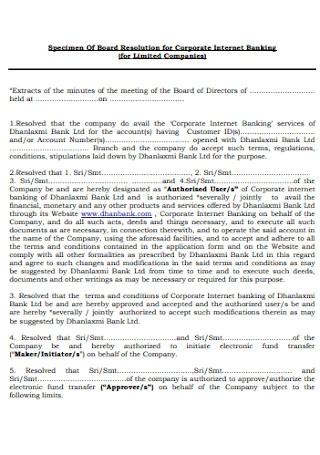 Resolution for Corporate Banking Form
