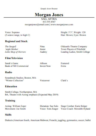 Resumes for Actors and Artists