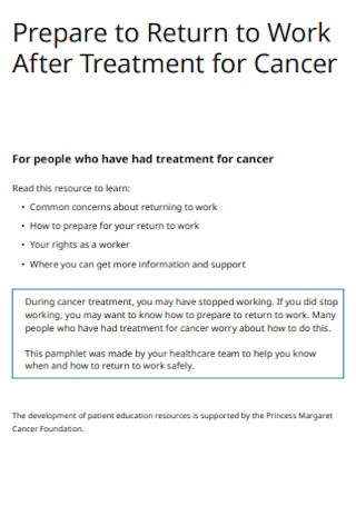 Return to Work After Treatment for Cancer