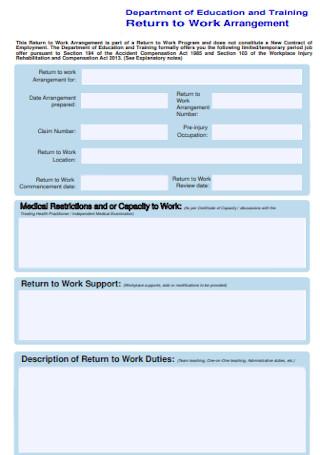 Return to Work Arrangement Example