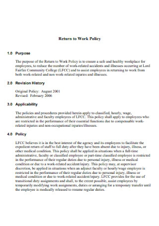 Return to Work Policy Template