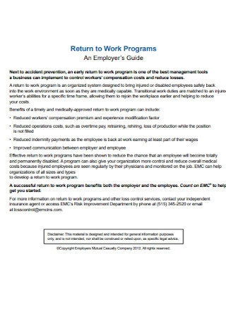 Return to Work Programs Example