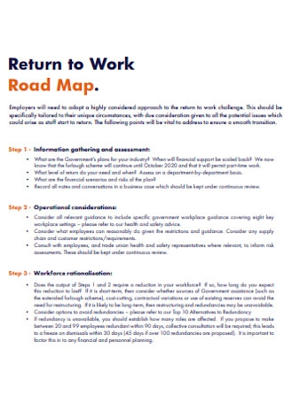 Return to Work Road Map