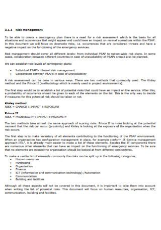 Risk Management Contingency Plans