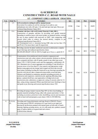 Road Construction Schedule