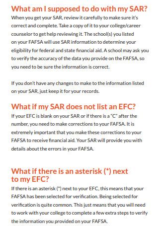 SAR Student Aid Report