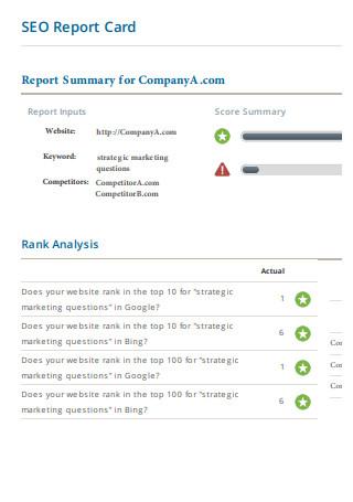 SEO Report Card Template