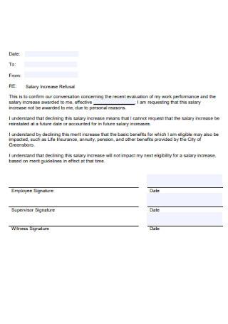 Salary Increase Refusal Letter