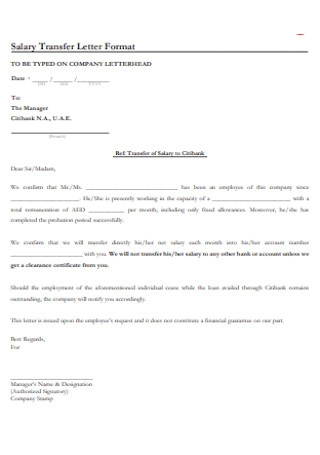 Salary Transfer Letter Format