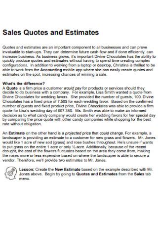 Sales Quotes and Estimates