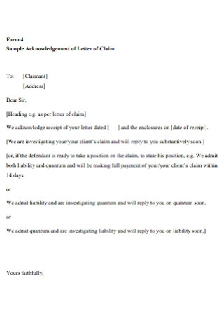 Sample Acknowledgement of Letter of Claim