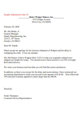 Sample Adjustment Letter