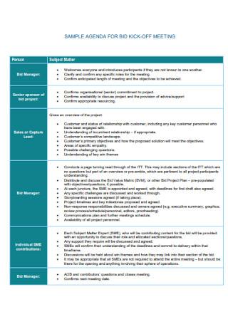 Sample Agenda for Bid Kick off Meeting