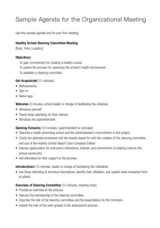 Sample Agenda for the Organizational Meeting