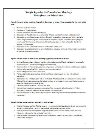 Sample Agendas for Consultation Meetings