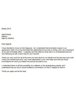 Sample Agent Termination Letter