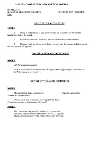 Sample Annotated Board Meeting Agenda