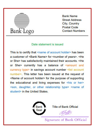 Sample Bank Statement Template