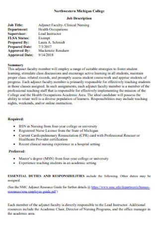 Sample College Job Description