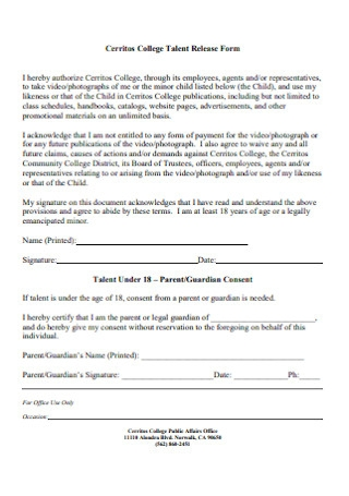 Sample College Talent Release Form