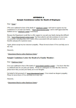 Sample Condolence Letter for Death of Employee
