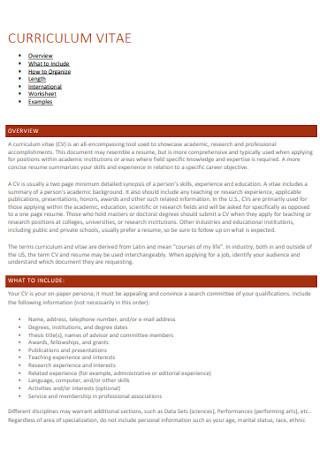 Sample Curriculum Vitae Example