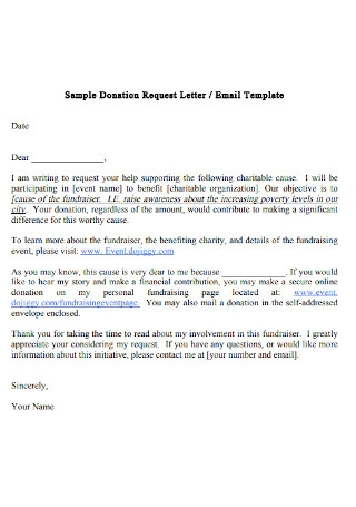 Sample Donation Request Letter Example