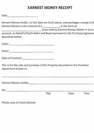 Sample Earnest Money Receipt