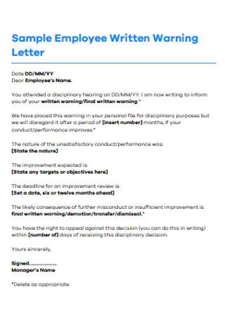 Sample Employee Written Warning Letter