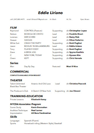 Sample Film Acting Resume