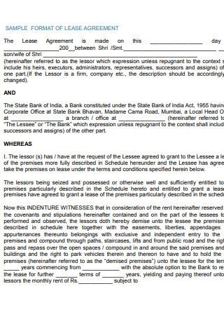 Sample Format of Lease Agreement1