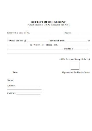 Sample House Rent Tax Receipt