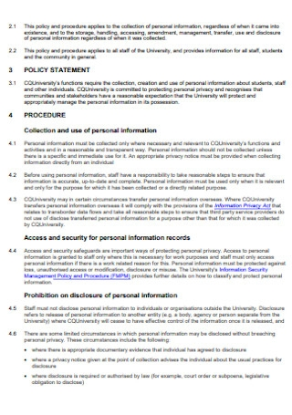 Sample Information Privacy Policy and Procedures