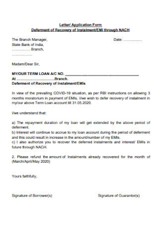 Sample Letter of Application Form