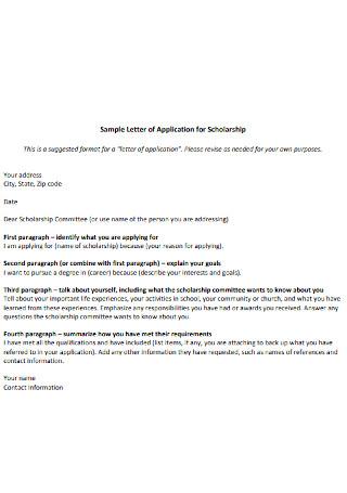 Sample Letter of Application for Scholarship